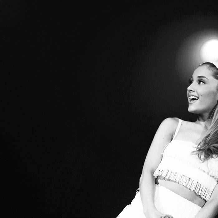 PALM SPRINGS, CA - APRIL 26: Singer Ariana Grande performs during Jeffrey Sanker Presents the 25th White Party Anniversary at Palm Springs Convention Center on April 26, 2014 in Palm Springs, California. (Photo by Vincent Sandoval/WireImage)