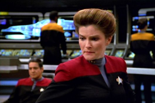 "LOS ANGELES - APRIL 10:    Kate Mulgrew as Captain Kathryn Janeway in ""State of Flux"".  Aired April 10, 1995, Episode 11, Season 1. Image is a frame grab.  (Photo by CBS via Getty Images) *** local caption *** Kate Mulgrew"