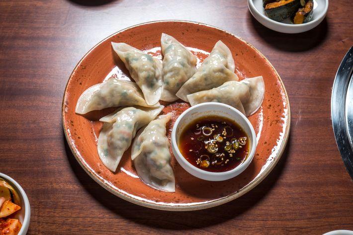 Steamed yache mandu, or kimchi-and-vegetable dumplings.