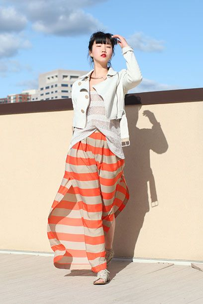 "Jinna, shot in New York for <a href=""http://greaseandglamour.com/2012/04/creamsicle/"">Grease & Glamour</a>, via <a href=""http://www.chictopia.com/photo/show/632823-creamsicle-carrot-orange-wide-leg-bcbg-pants-eggshell-crop-forever-21-jacket"">Chictopia</a>."