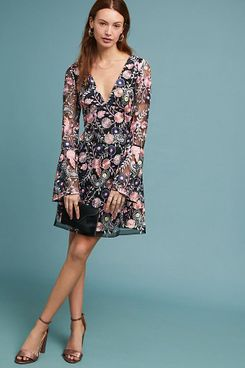 ML Monique Lhuillier Roupell Embroidered Dress