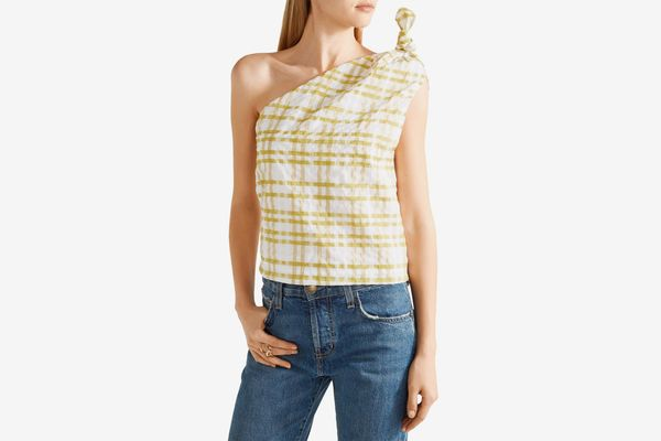 Rosie Assoulin one-shoulder checked seersucker top
