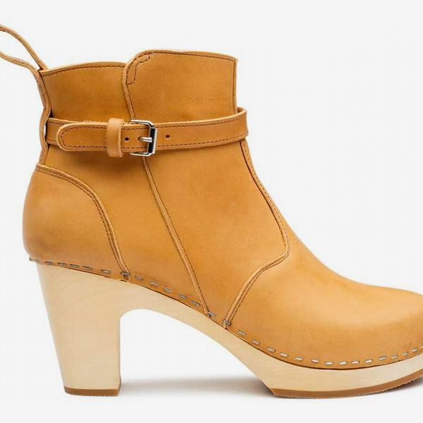 High-Heeled Jodhpur in Nature - strategist best light brown high heel boot with buckle strap