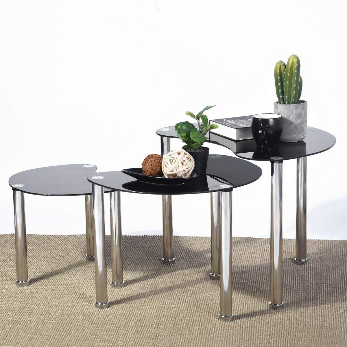 Aingoo Glass Nesting Coffee Table Set of 3