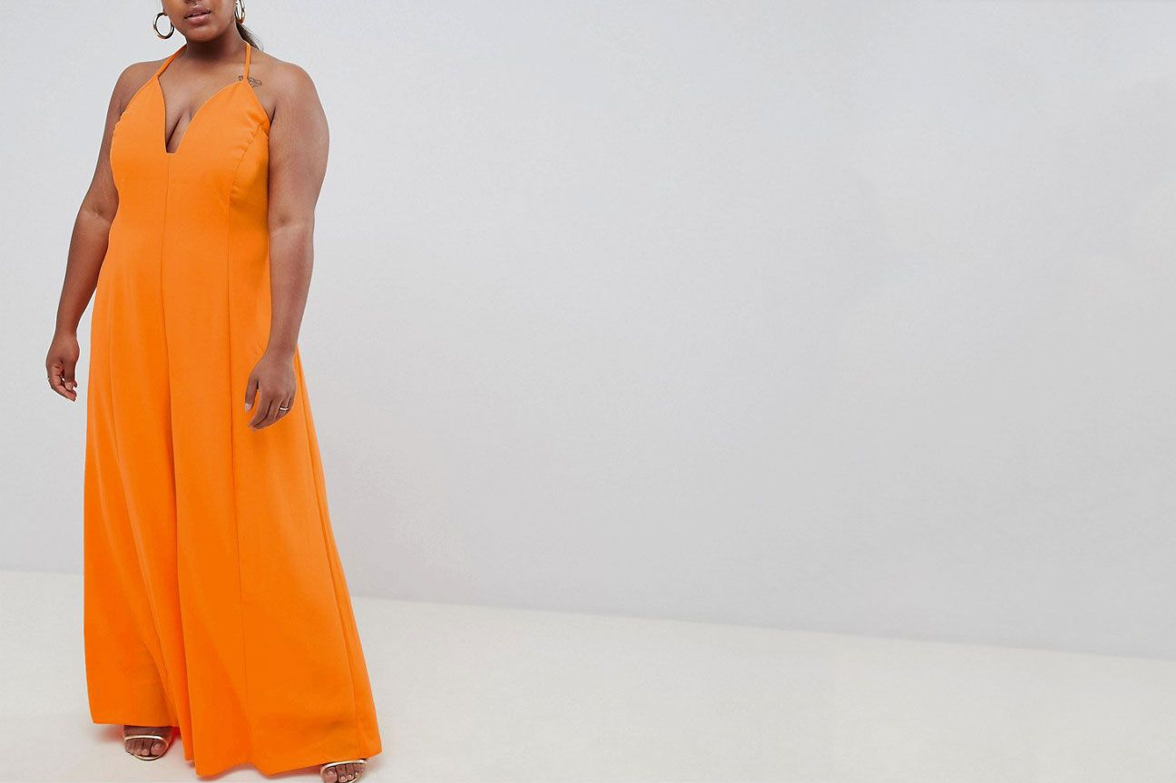 b4d8caeb59 When You Want to Stand Out. ASOS DESIGN Curve jumpsuit with super wide leg