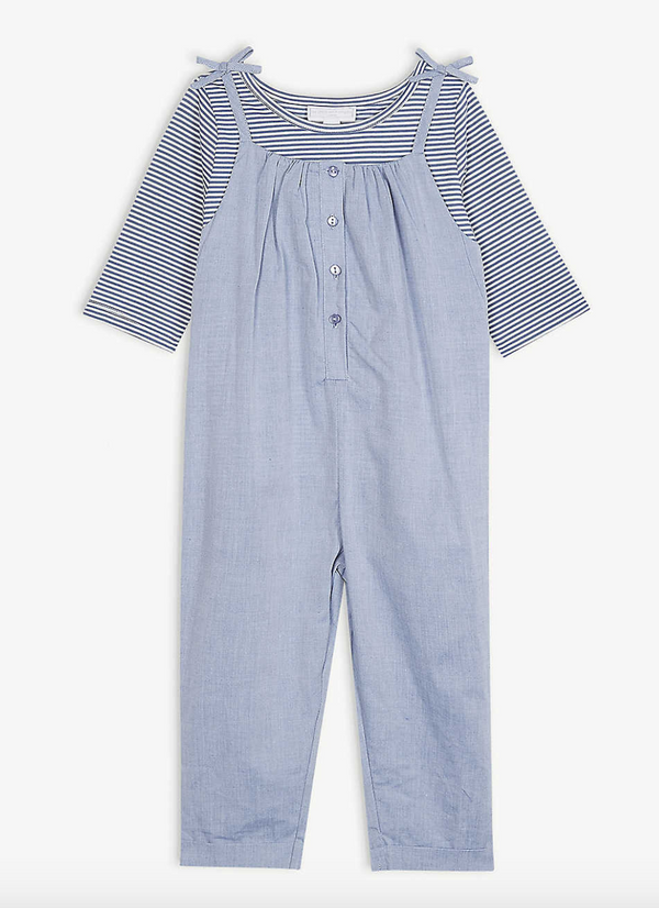 The Little White Company Chambray Cotton Playsuit and Top Set 1-6 years