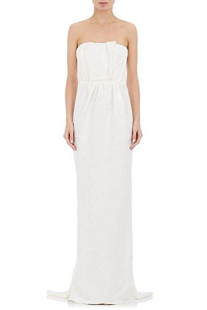 Fl Linen Blend Strapless Gown