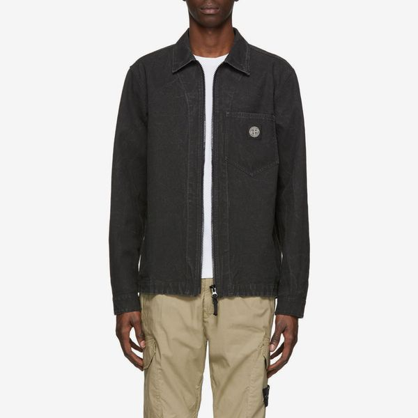 Stone Island Black Hemp Overshirt Jacket