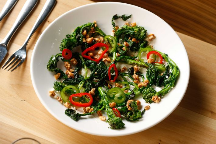 Charred rapini, Parmesan, Fresno chilies, and sour peanuts.