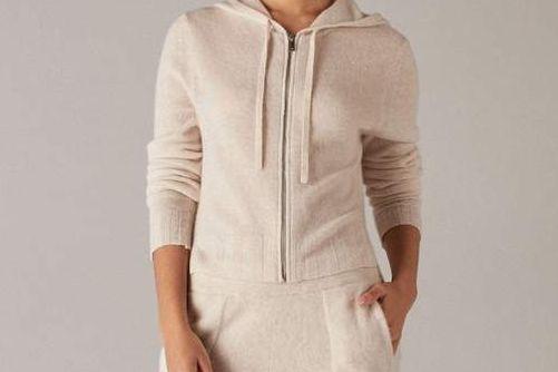 Naadam Cropped Cashmere Zip Hoodie