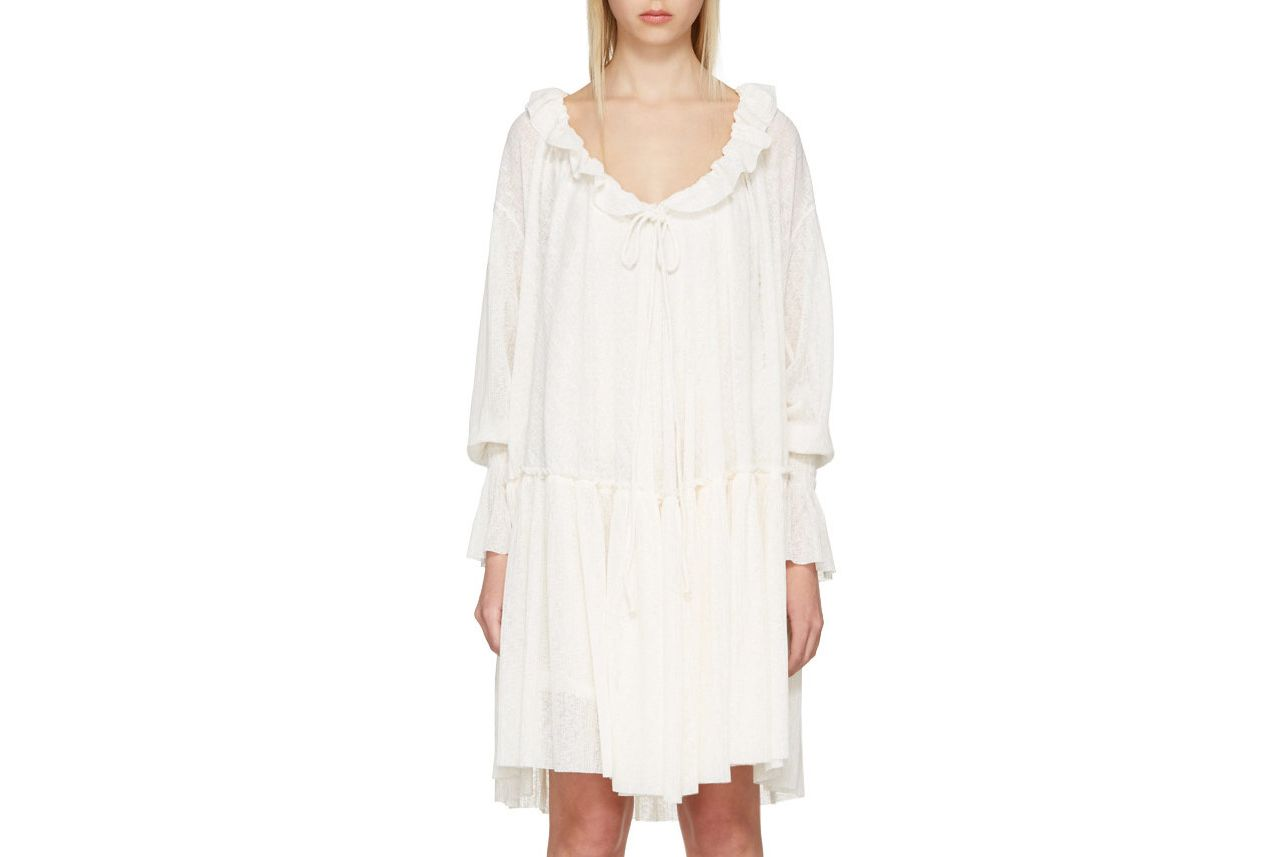 See by Chloé Off-White Gauze Jersey Dress