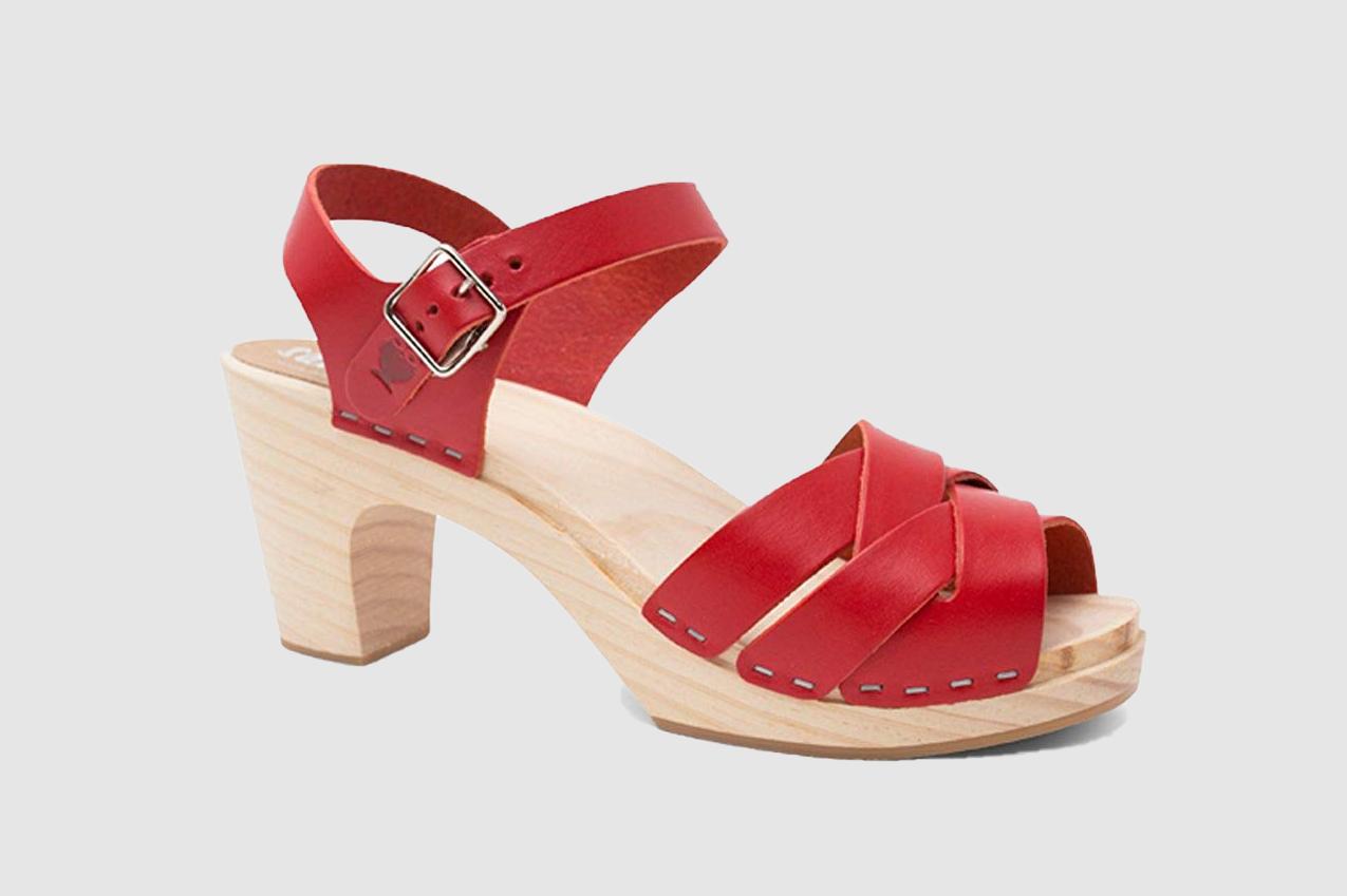 Sandgrens Swedish High Rise Wooden Heel Clog Sandals for Women | Rio Grande High Rise