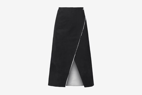 Simon Miller Mackie Frayed Denim Wrap Midi Skirt