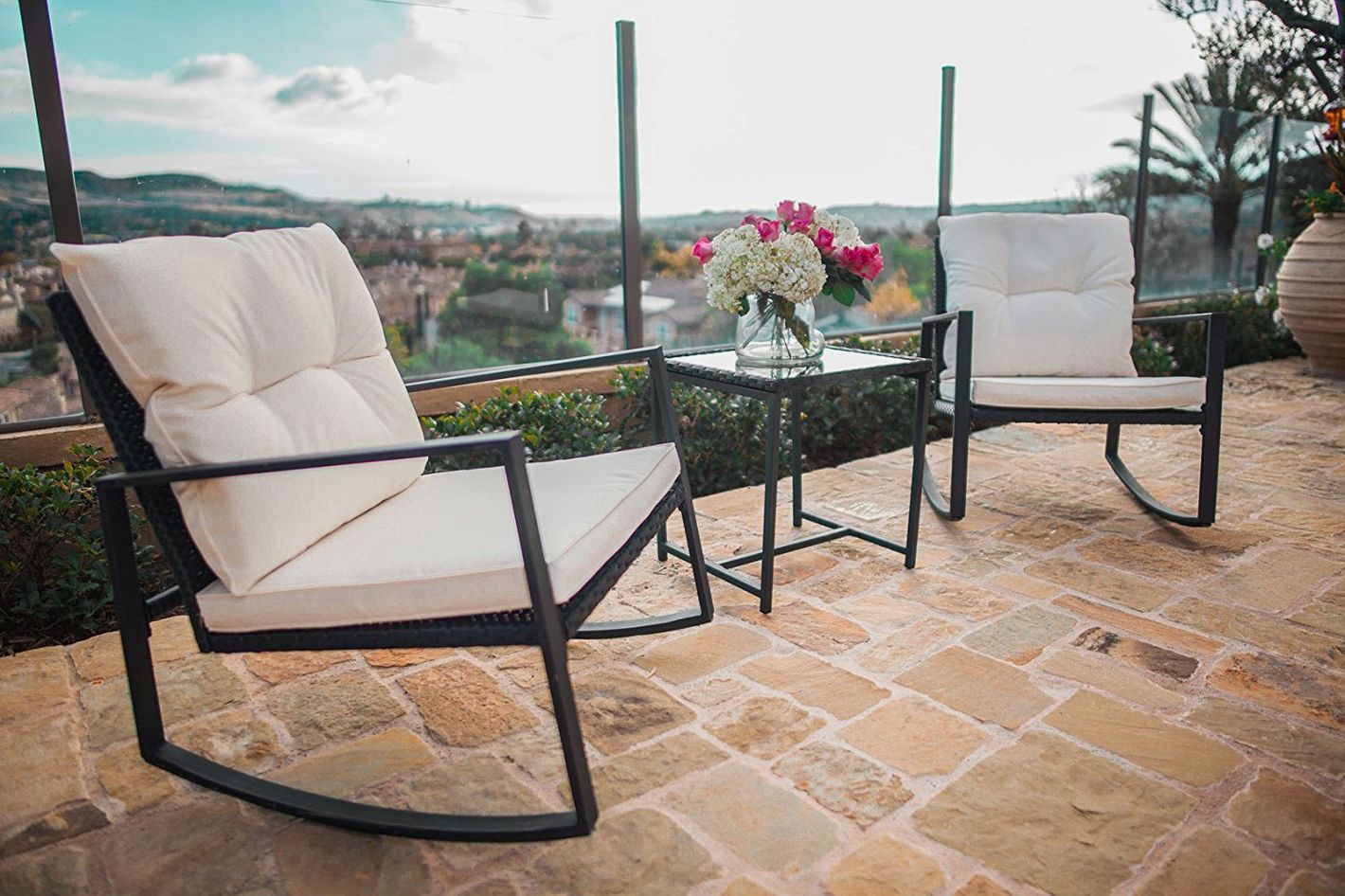 34ffb55a6e0a Suncrown Outdoor 3-Piece Rocking Wicker Bistro Set at Amazon
