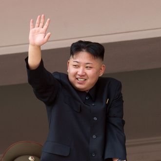 North Korean leader Kim Jong-Un waves after watching a military parade in honour of the 100th birthday of the late North Korean leader Kim Il-Sung in Pyongyang on April 15, 2012. North North Korean leader Kim Jong-Un delivered his first ever public speech at a major military parade in Pyongyang to mark 100 years since the birth of the country's founder Kim Il-Sung. AFP PHOTO / Ed Jones (Photo credit should read Ed Jones/AFP/Getty Images)