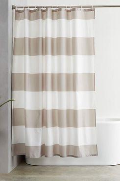 AmazonBasics Shower Curtain with Hooks, Grey Stripe