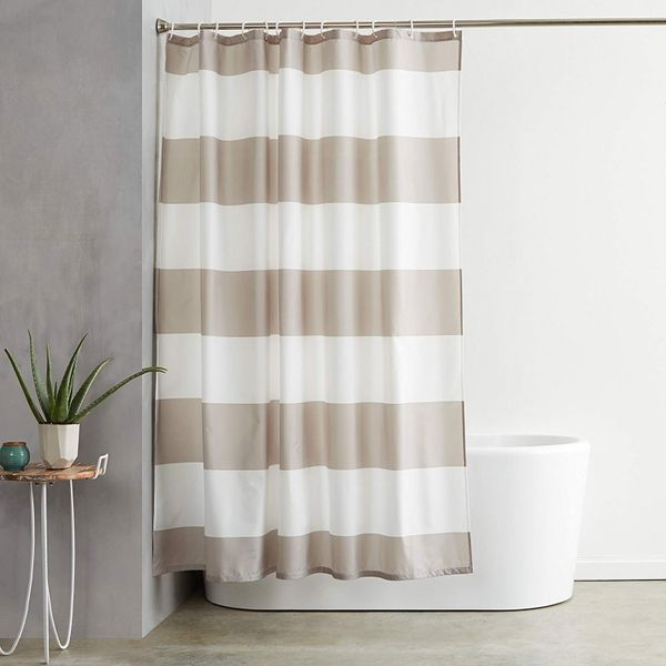 AmazonBasics Shower Curtain with Hooks, Grey Stripe
