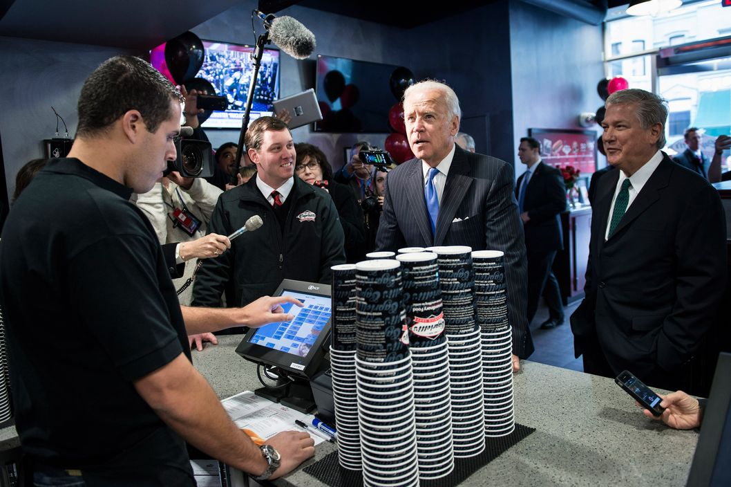 US Vice President Joseph R. Biden places an order for sandwiches at Capriotti's Sandwich Shop November 21, 2013 in Washington, DC. Capriotti's Sandwich Shop was established in 1976 in Wilmington, Delaware and is frequented by Biden. AFP PHOTO/Brendan SMIALOWSKI        (Photo credit should read BRENDAN SMIALOWSKI/AFP/Getty Images)