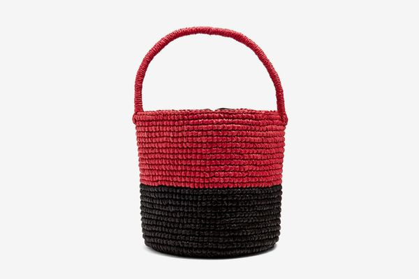 Sensi Studio Bi-Colour Toquilla-Straw Basket Bag