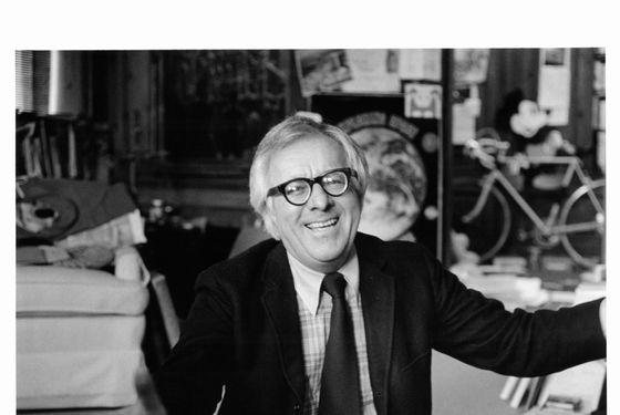 Ray Bradbury with his hands out, circa 1980.