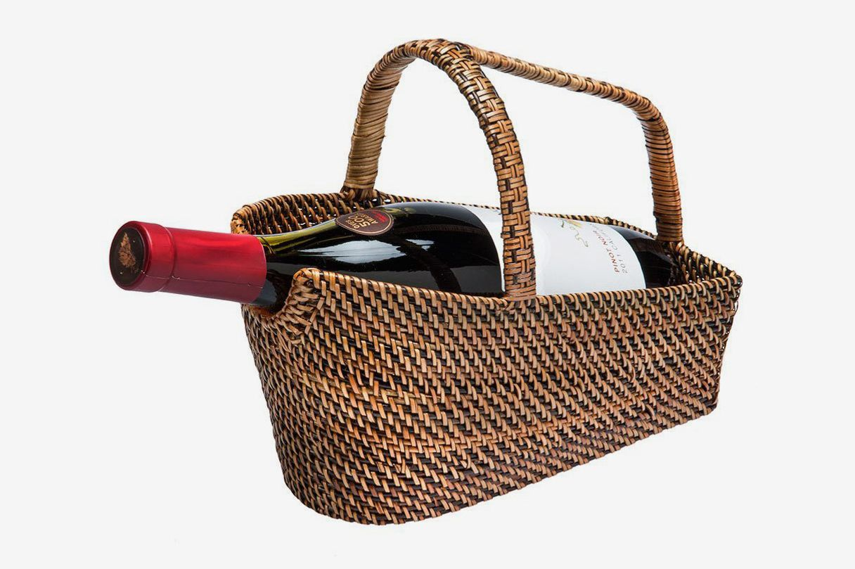 Kouboo Wine Bottle Basket and Decanter in Rattan-Nito, Brown