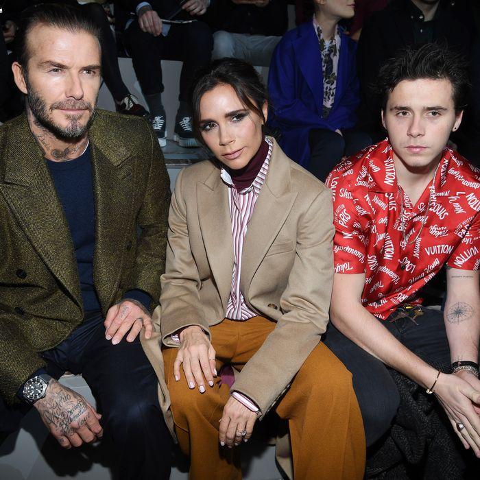 David, Victoria, and Brooklyn Beckham.