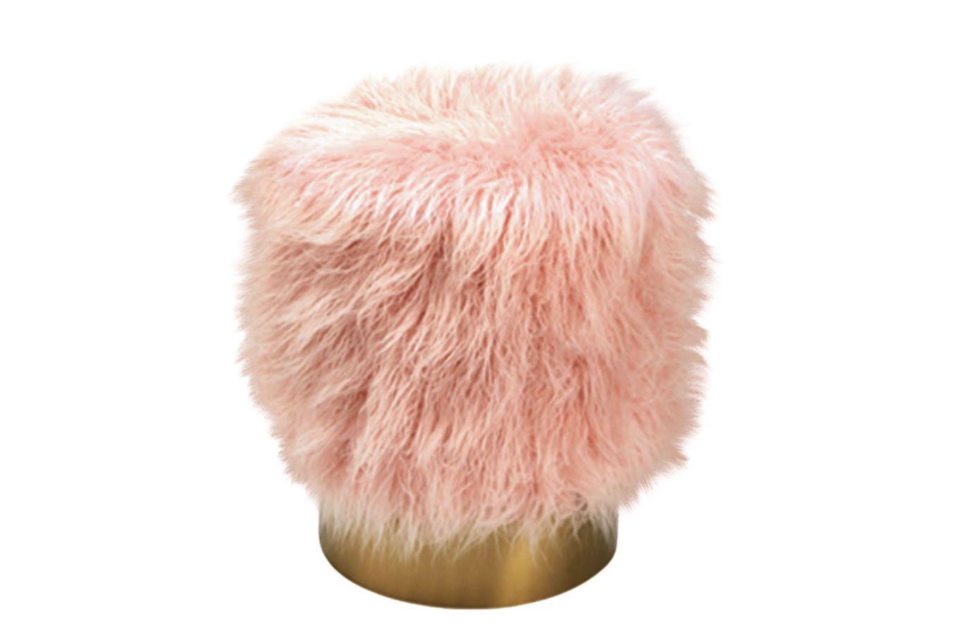 """Project 62"" light-pink faux-fur ottoman"