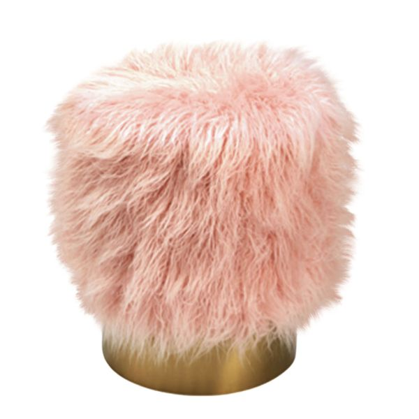 """Project 62"" light-pink faux-fur ottoman"
