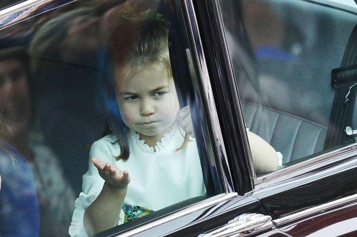 Princess Charlotte blew a kiss.