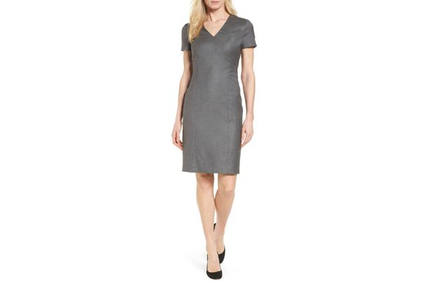 BOSS Ditobia Wool Blend Sheath Dress