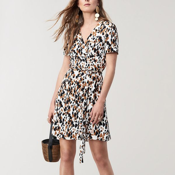 Diane von Furstenberg Savilla Mini Wrap Dress, Apaloosa Chestnut