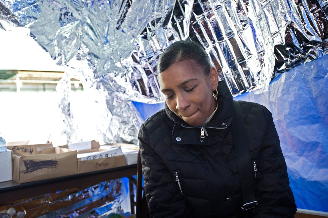 Vanessa Fontaine at the command center tent near the Riverview School that her son Avonte Oquendo disappeared from, in New York, Oct. 23, 2013. Police officers, volunteers and family members have been searching for the 14-year-old autistic boy who slipped out the front door of his high school for more than three weeks.