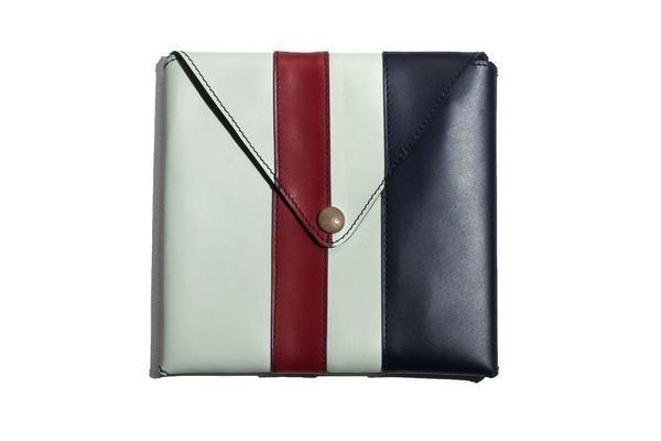 Leather Paneling Square Clutch