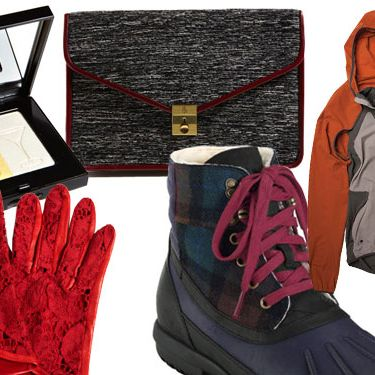 Clockwise from top left: Party Shimmer Brick by Bobbi Brown Cosmetics, Letter Clutch by Surface to Air, Nike X Gyakusou Convertible Jacket-Vest, Air Rhone Quilted Boot by Cole Haan, and Red Leaves Lace & Nappa Gloves by L'Wren Scott.