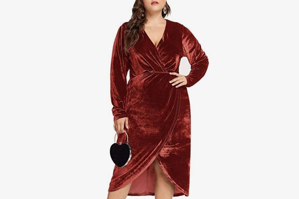 Esprlia Women's Plus Size High Waist Velvet Sexy Faux Wrap Pencil Cocktail Midi Dresses