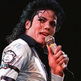 American pop music star Michael Jackson sings 13 O