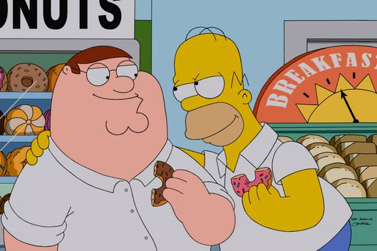 "FAMILY GUY: Homer shares a favorite local delicacy with his new friend Homer in the season premiere ""The Simpsons Guy"" episode of FAMILY GUY airing Sunday, September 28 (9:00-10:00 PM ET/PT) on FOX.  FAMILY GUY/THE SIMPSONS  ? and ? 2014 TCFFC ALL RIGHTS RESERVED."