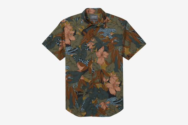Men's Slim Fit Riviera Short Sleeve Shirt, Wild Cats Print