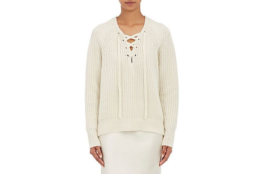 Nili Lotan Alix Cashmere Lace-up Sweater