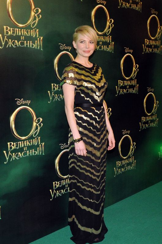 Actress Michelle Williams attends the Moscow premiere of Sam Raimi film Oz: The Great and Powerful at Oktyabr Cinema.