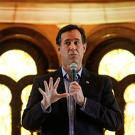 MCKINNEY, TX - FEBRUARY 08:  Republican presidential candidate, former U.S. Sen. Rick Santorum talks with supporters during a campaign event held at the Bella Donna Chapel on February 8, 2012 in McKinney, Texas. Rick Santorum swept all three Republican voting contests last night in Colorado, Minnesota and Missouri.  (Photo by Tom Pennington/Getty Images)