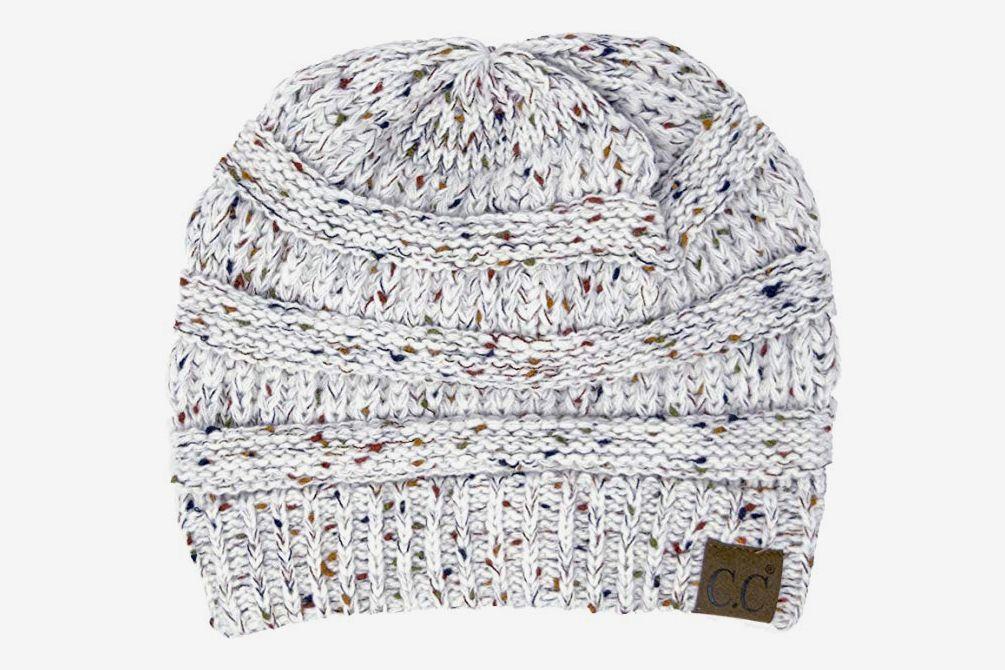 Funky Junque Girls Hat Kids Beanie Double Pom Faux Fur Soft Warm Winter Knit Cap