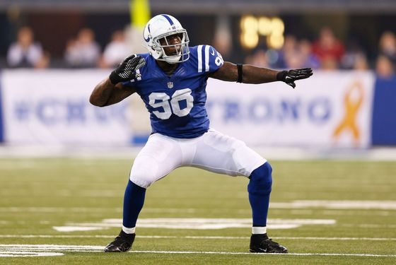 Robert Mathis #98 of the Indianapolis Colts celebrates after a sack against the Miami Dolphins during the game at Lucas Oil Stadium on November 4, 2012 in Indianapolis, Indiana.