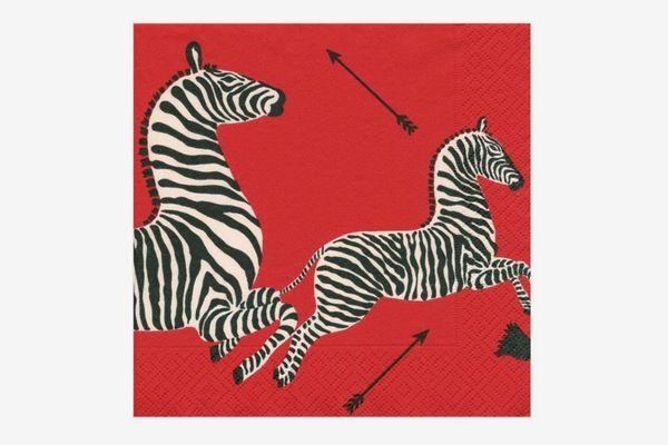 Caspari Zebras Dinner Napkins, Red - Pack of 40