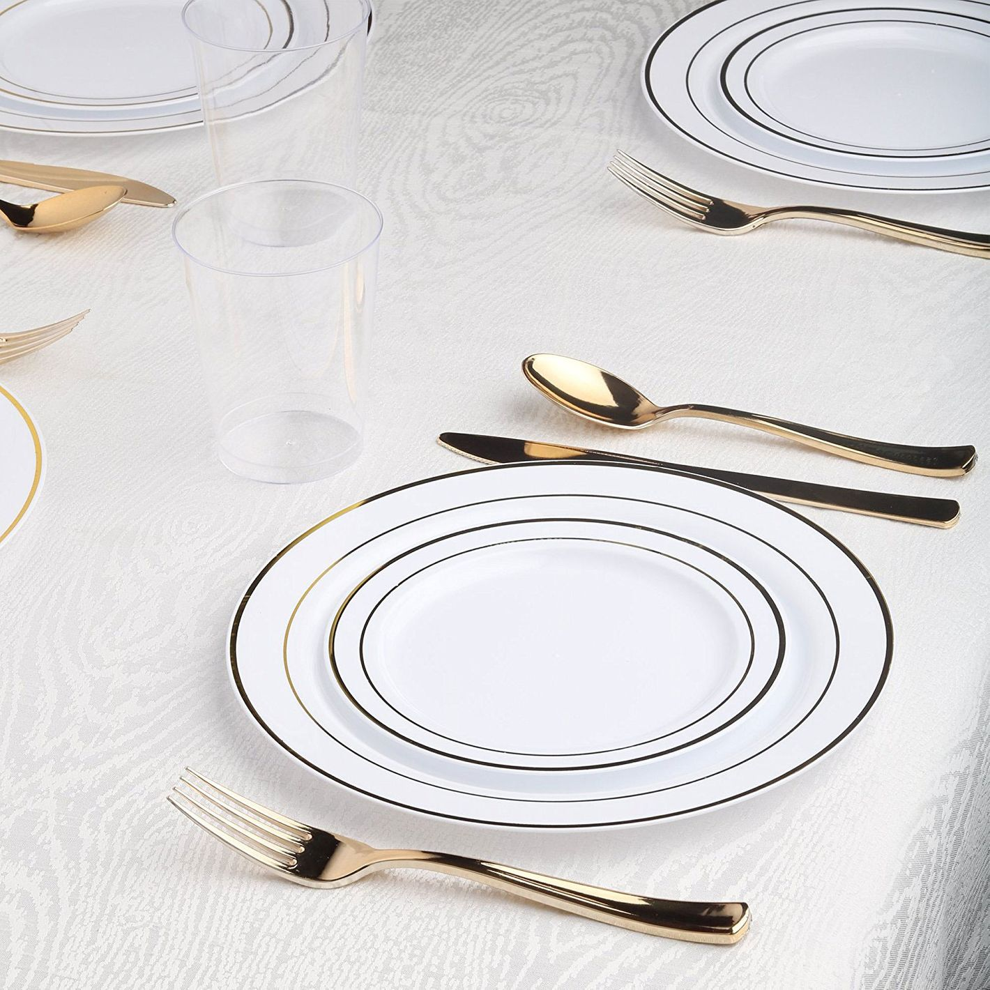 Kaya Collection — Disposable White with Gold Rim Plastic Round 9-Inch Buffet Plates