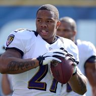SAN DIEGO, CA - NOVEMBER 25: Runningback Ray Rice #27 of the Baltimore Ravens warms up on the field before his team's game against the San Diego Chargers on November 25, 2012 at Qualcomm Stadium in San Diego, California. (Photo by Donald Miralle/Getty Images)