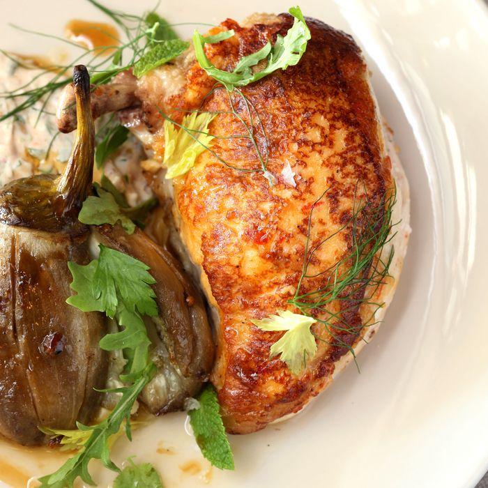 Chicken Breast — Spiced Eggplant, Yogurt, Pine Nut