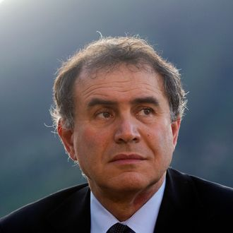 Nouriel Roubini, co-founder and chairman of Roubini Global Economics LLC, pauses during a television interview at the Ambrosetti Workshop in Cernobbio, near Como, Italy, on Friday, March 30, 2012.
