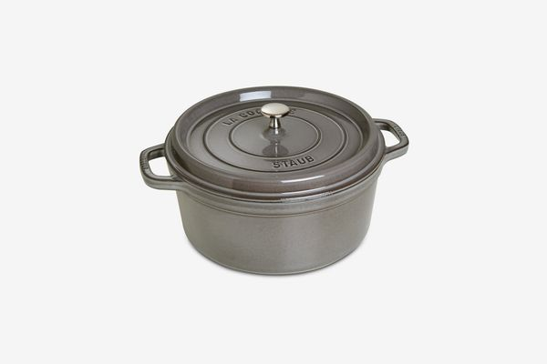 Staub Cast Iron 5.5-Qt. Round Cocotte (Grey)