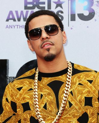 LOS ANGELES, CA - JUNE 30: Recording Artist J. Cole attends the 2013 BET Awards at Nokia Theatre L.A. Live on June 30, 2013 in Los Angeles, California. (Photo by Frederick M. Brown/Getty Images for BET)